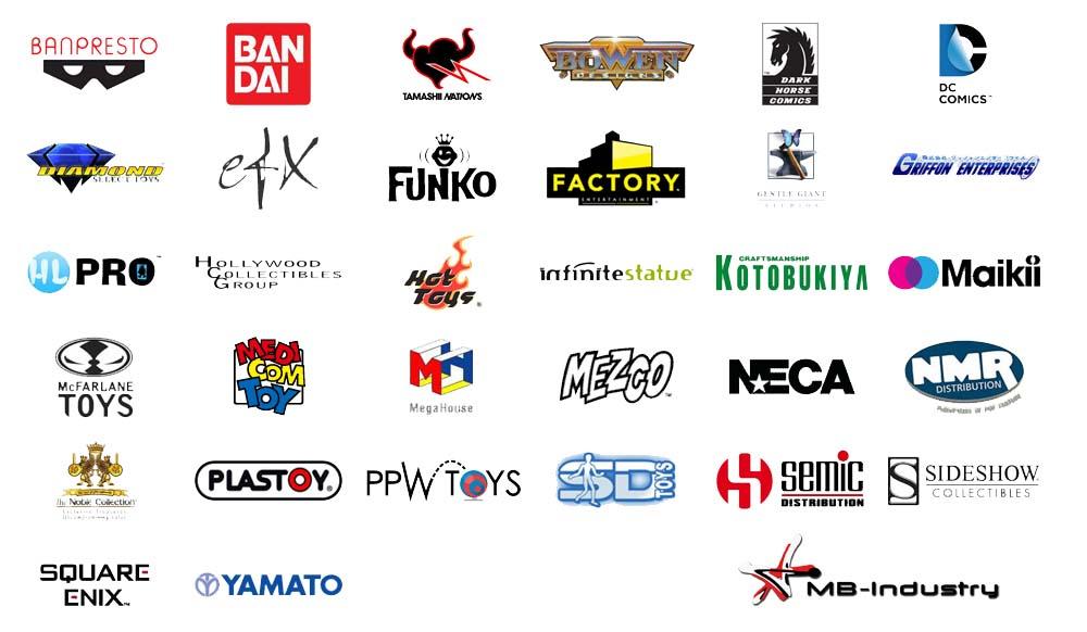 Marchi, Banpresto, Bandai, tamashi, neca, yamato, sideshow, mcflane, efx, dc comix, dark horse, square eniz, mb-industry